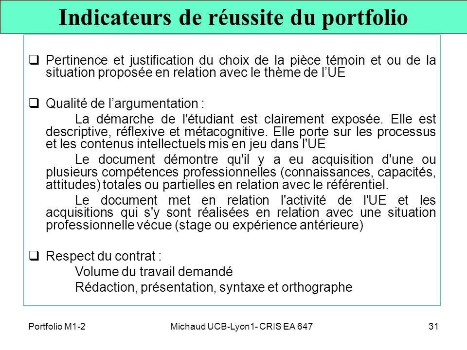 Michaud UCB-Lyon1- CRIS EA 64731 Pertinence et justification du choix de la pièce témoin et ou de la situation proposée en relation avec le thème de l