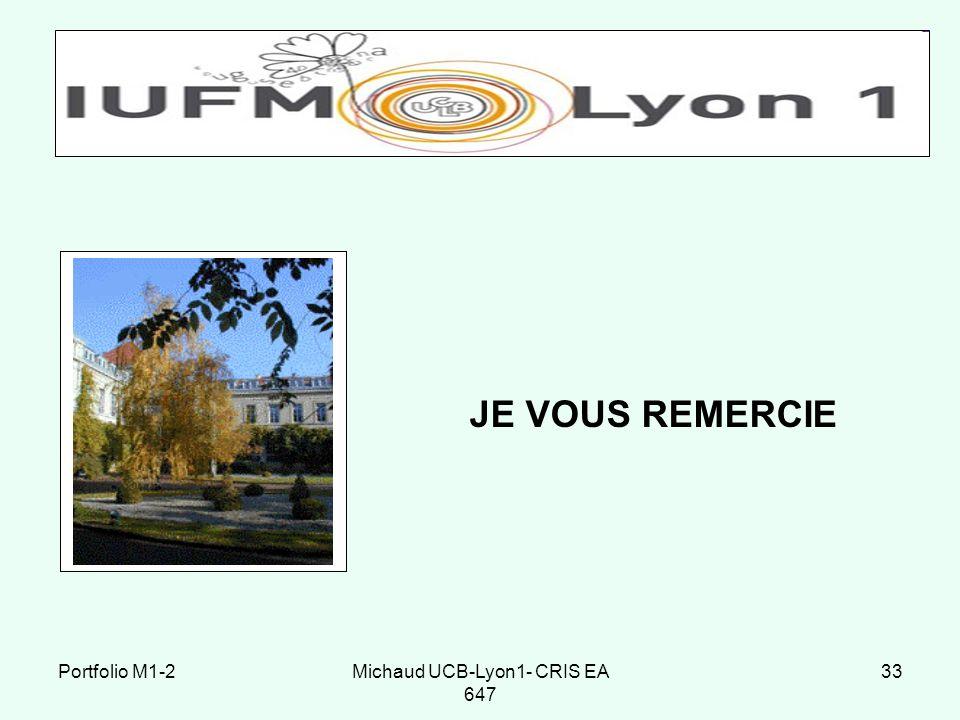 Michaud UCB-Lyon1- CRIS EA 647 33 JE VOUS REMERCIE Portfolio M1-2