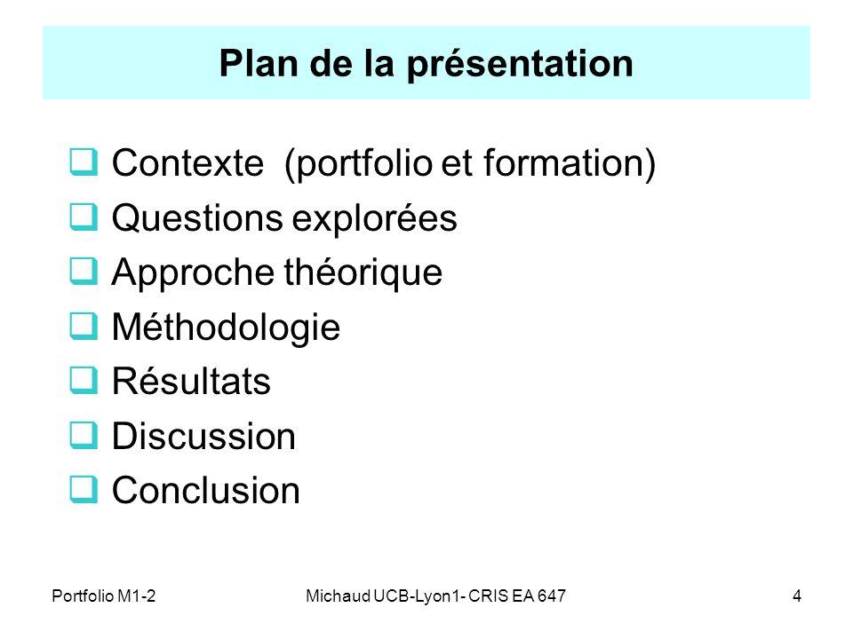 Michaud UCB-Lyon1- CRIS EA 6474 Plan de la présentation Contexte (portfolio et formation) Questions explorées Approche théorique Méthodologie Résultat