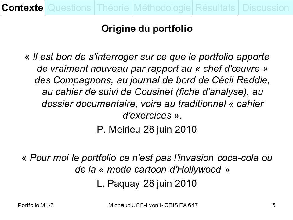 Origine du portfolio « Il est bon de sinterroger sur ce que le portfolio apporte de vraiment nouveau par rapport au « chef dœuvre » des Compagnons, au