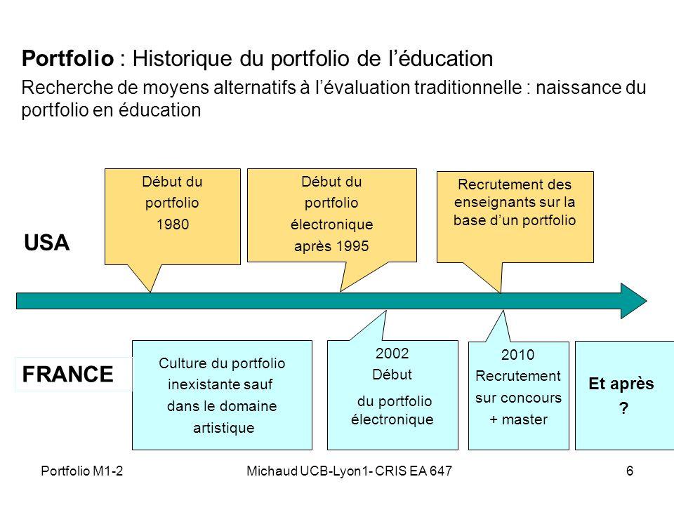 Michaud UCB-Lyon1- CRIS EA 6476 Portfolio : Historique du portfolio de léducation Recherche de moyens alternatifs à lévaluation traditionnelle : naiss