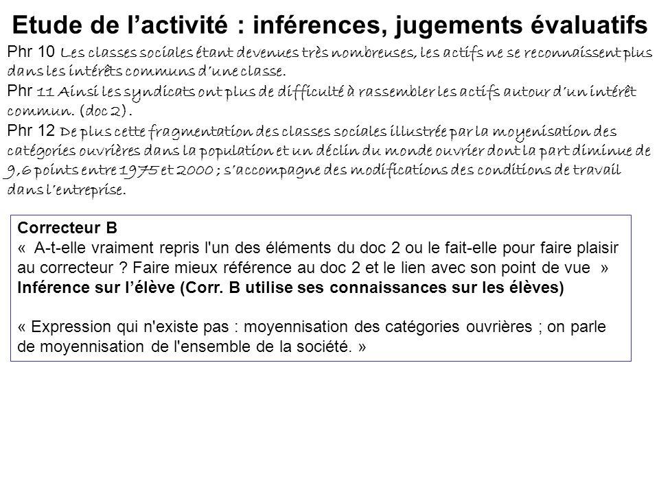 Etude de lactivité : inférences, jugements évaluatifs Phr 10 Les classes sociales étant devenues très nombreuses, les actifs ne se reconnaissent plus