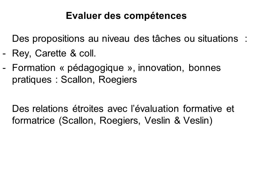 Evaluer des compétences Des propositions au niveau des tâches ou situations : -Rey, Carette & coll. -Formation « pédagogique », innovation, bonnes pra