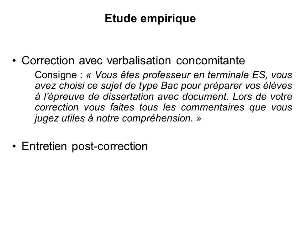 Etude empirique Correction avec verbalisation concomitante Consigne : « Vous êtes professeur en terminale ES, vous avez choisi ce sujet de type Bac po