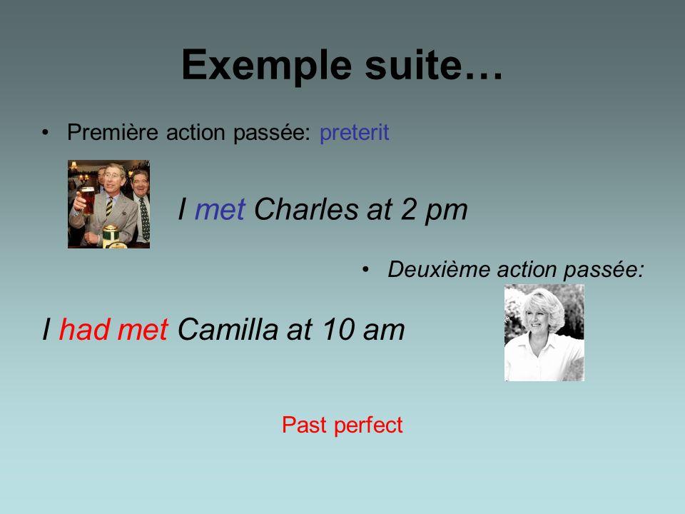 Exemple Hier à quatorze heures jai rencontré Charles: première action passée Hier à dix heures jai rencontré Camilla: seconde action passée Jai rencon
