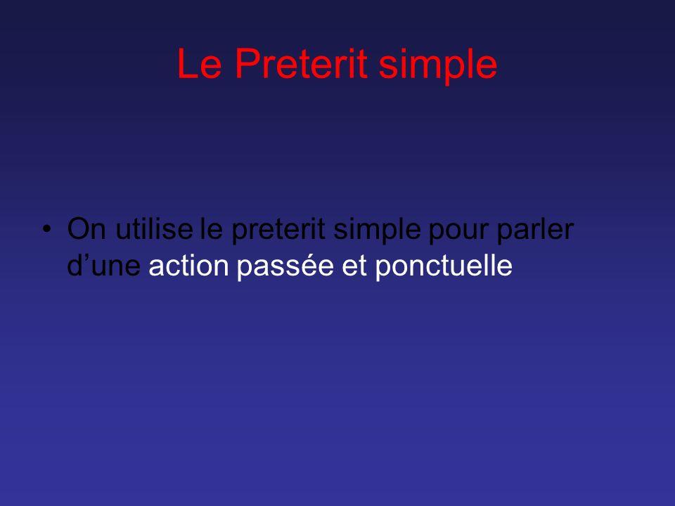 Le Preterit simple On utilise le preterit simple pour parler dune action passée et ponctuelle