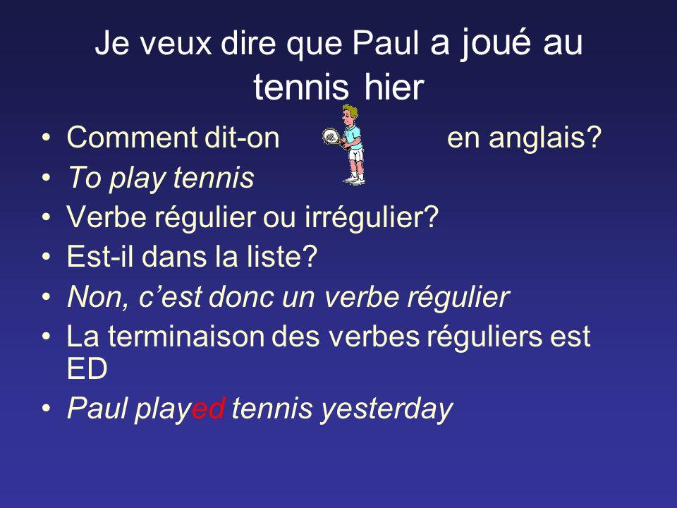 Je veux dire que Paul a joué au tennis hier Comment dit-on en anglais.