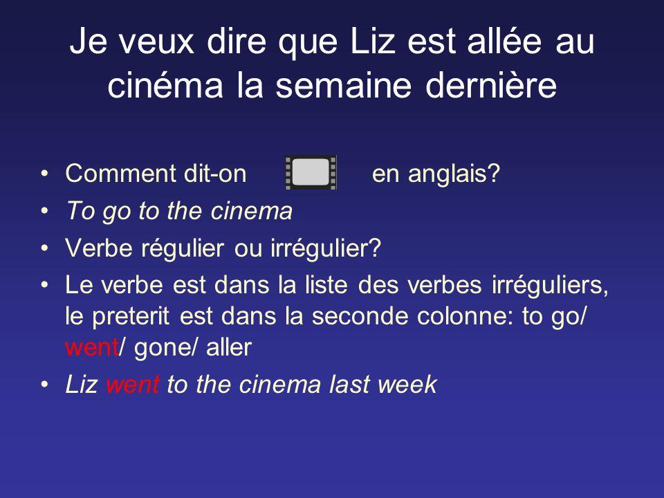 Je veux dire que Liz est allée au cinéma la semaine dernière Comment dit-on en anglais.