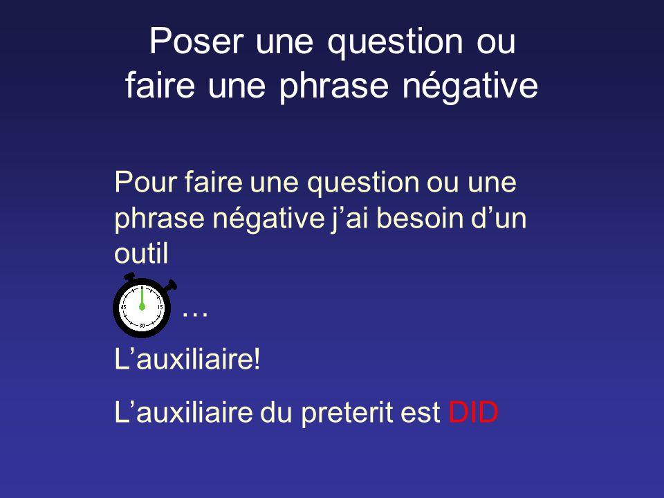 Poser une question ou faire une phrase négative Pour faire une question ou une phrase négative jai besoin dun outil … Lauxiliaire.