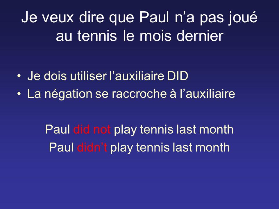 Je veux dire que Paul na pas joué au tennis le mois dernier Je dois utiliser lauxiliaire DID La négation se raccroche à lauxiliaire Paul did not play tennis last month Paul didnt play tennis last month