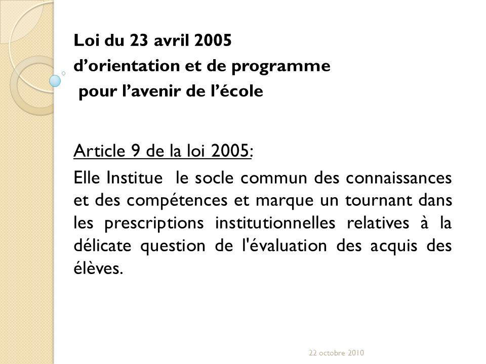 Loi du 23 avril 2005 dorientation et de programme pour lavenir de lécole Article 9 de la loi 2005: Elle Institue le socle commun des connaissances et