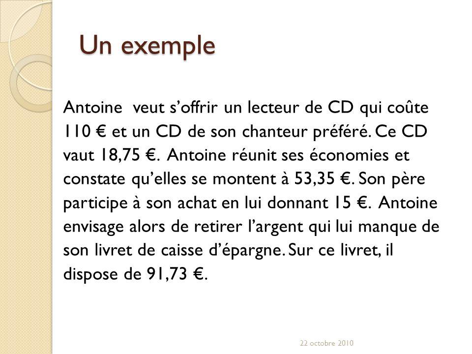 Un exemple Antoine veut soffrir un lecteur de CD qui coûte 110 et un CD de son chanteur préféré.