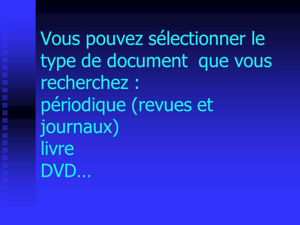 Vous pouvez sélectionner le type de document que vous recherchez : périodique (revues et journaux) livre DVD…