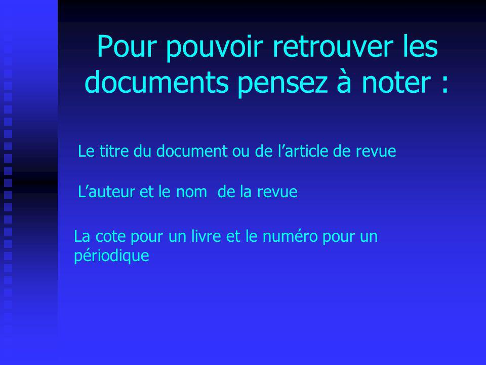 Cela vous permettra de retrouver rapidement vos documents et de faire une bibliographie en fin de recherche.