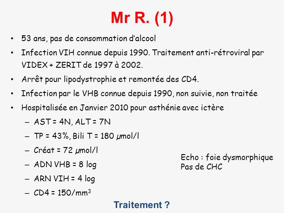 Traitement ? Mr R. (1) 53 ans, pas de consommation dalcool Infection VIH connue depuis 1990. Traitement anti-rétroviral par VIDEX + ZERIT de 1997 à 20