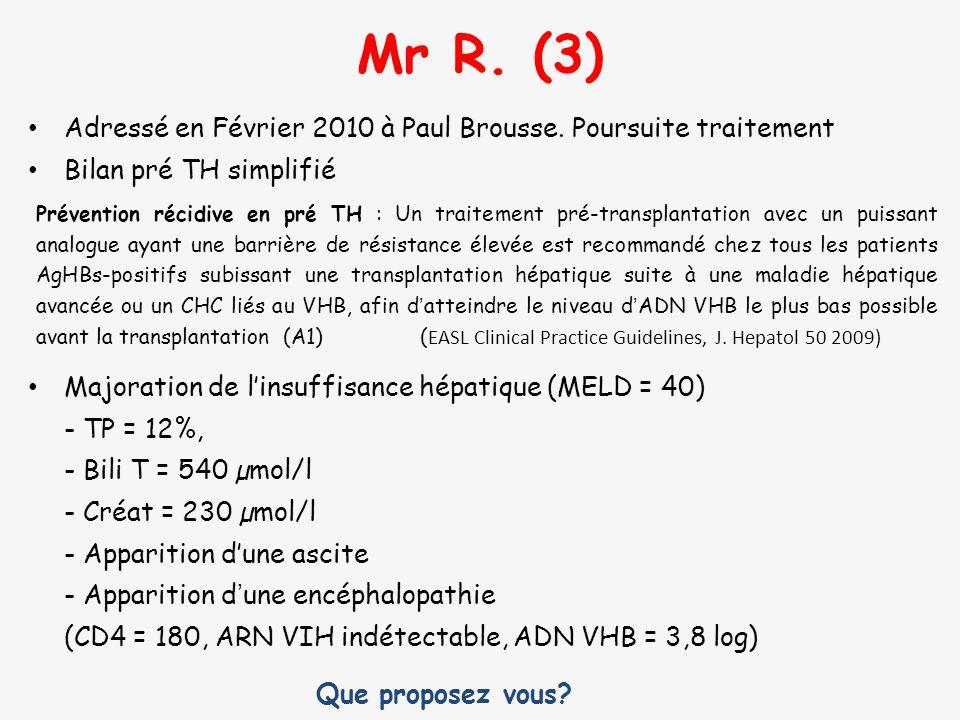 Mr R. (3) Adressé en Février 2010 à Paul Brousse. Poursuite traitement Bilan pré TH simplifié Prévention récidive en pré TH : Un traitement pré-transp