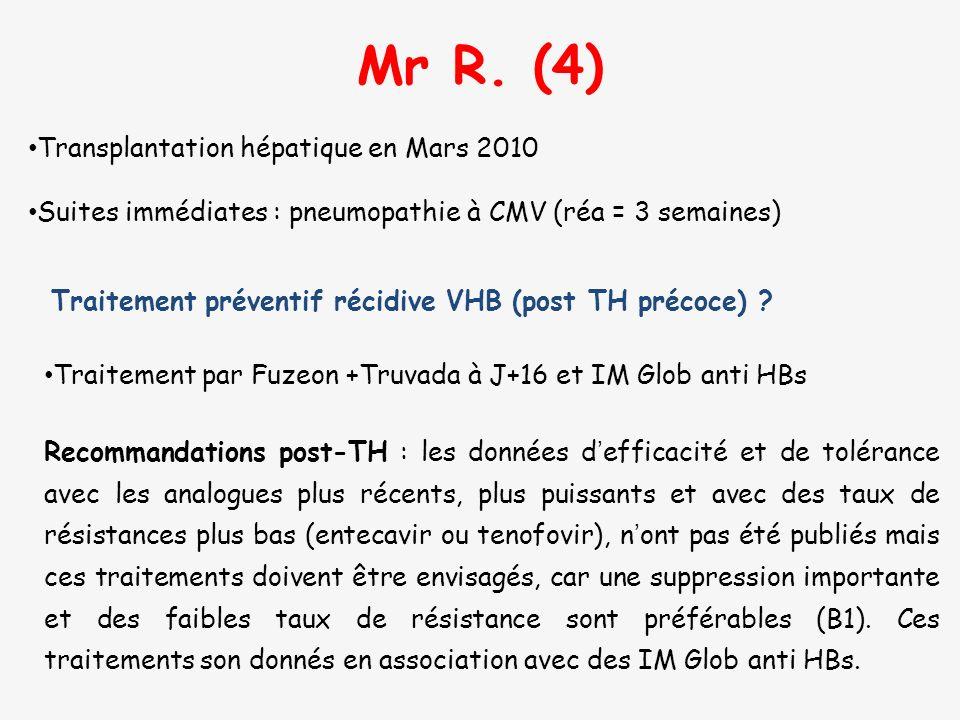 Traitement préventif récidive VHB (post TH précoce) ? Mr R. (4) Transplantation hépatique en Mars 2010 Suites immédiates : pneumopathie à CMV (réa = 3