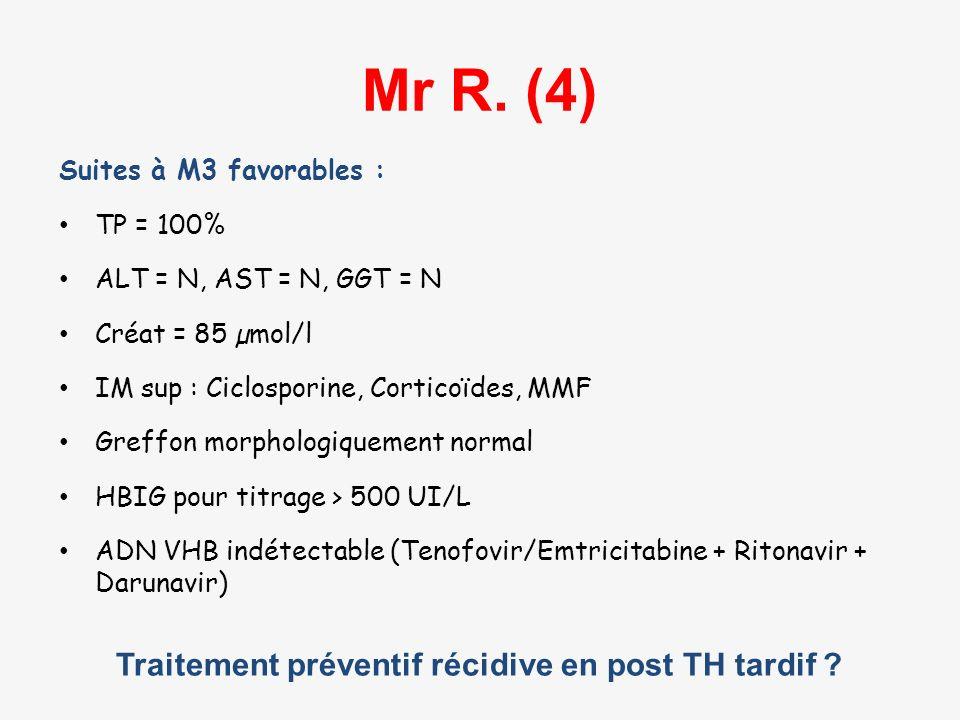 Traitement préventif récidive en post TH tardif ? Mr R. (4) Suites à M3 favorables : TP = 100% ALT = N, AST = N, GGT = N Créat = 85 µmol/l IM sup : Ci