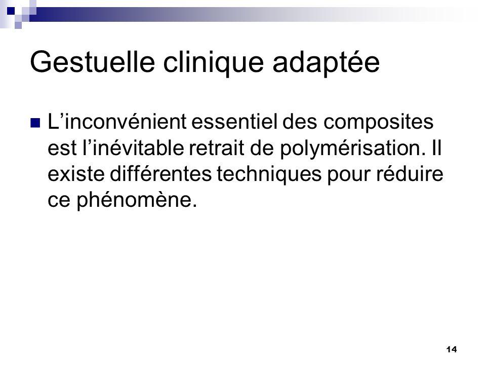 14 Gestuelle clinique adaptée Linconvénient essentiel des composites est linévitable retrait de polymérisation. Il existe différentes techniques pour