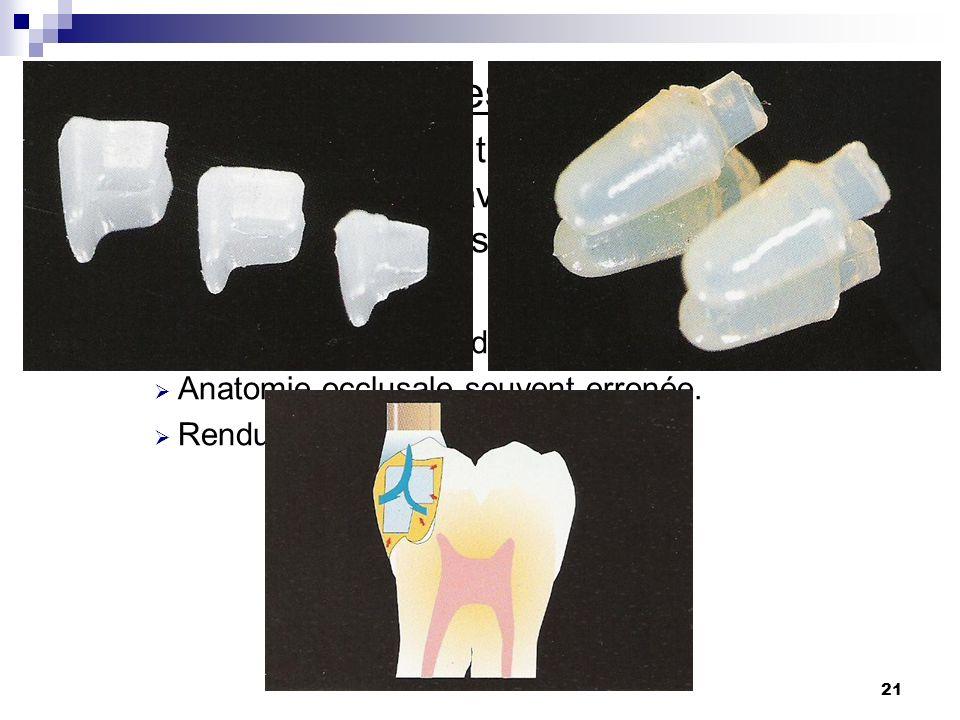 21 6) Inserts céramiques ou vitro-céramiques: Technique consistant à remplir au maximum la cavité proximale avec linsert pour réduire le volume de com
