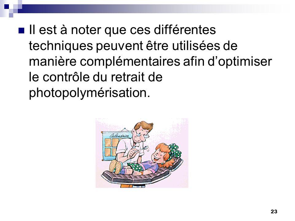 23 Il est à noter que ces différentes techniques peuvent être utilisées de manière complémentaires afin doptimiser le contrôle du retrait de photopoly