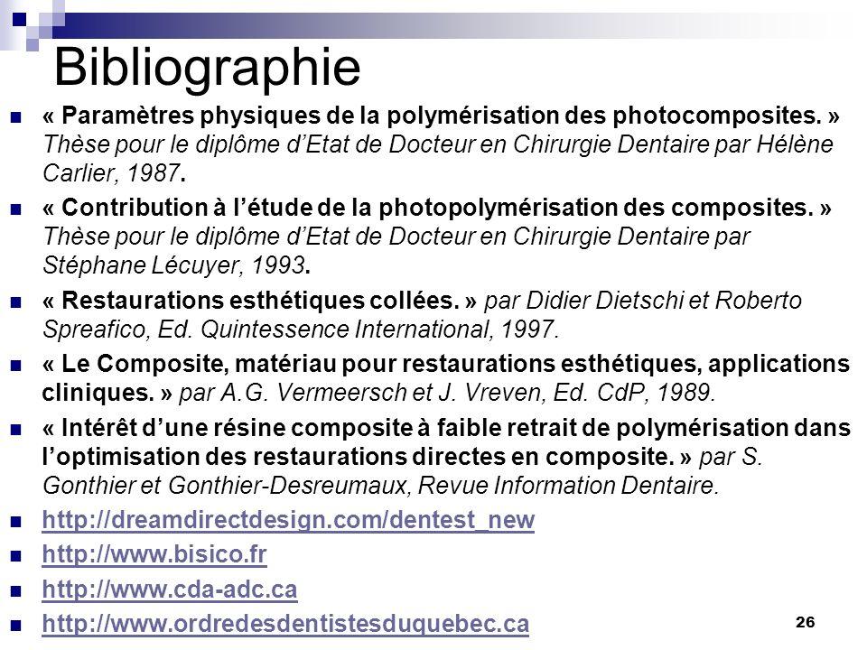 26 Bibliographie « Paramètres physiques de la polymérisation des photocomposites. » Thèse pour le diplôme dEtat de Docteur en Chirurgie Dentaire par H