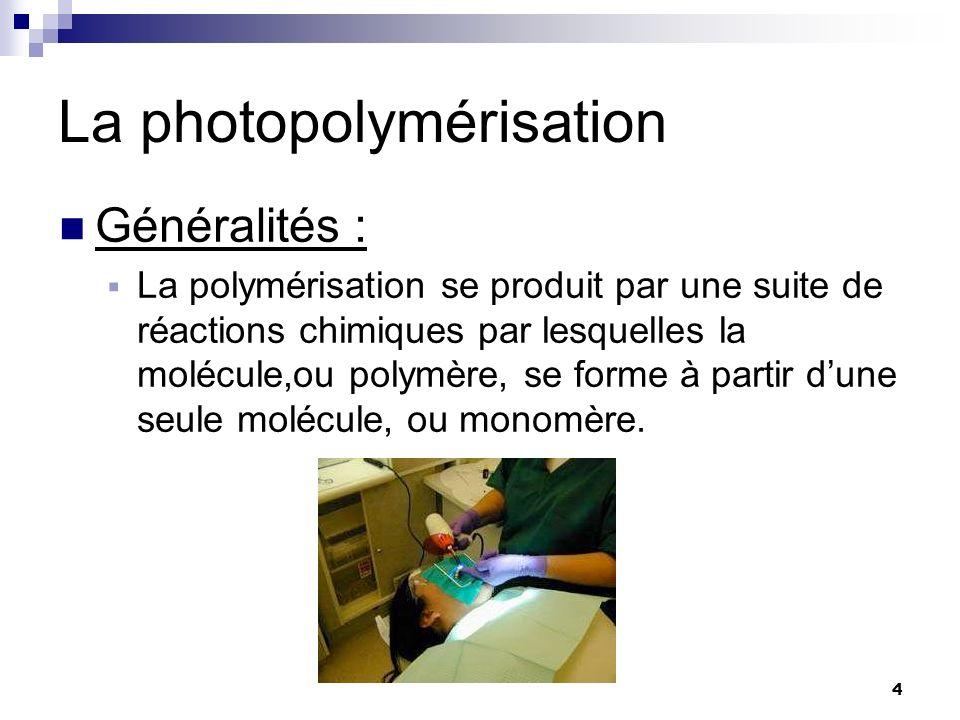 4 La photopolymérisation Généralités : La polymérisation se produit par une suite de réactions chimiques par lesquelles la molécule,ou polymère, se fo