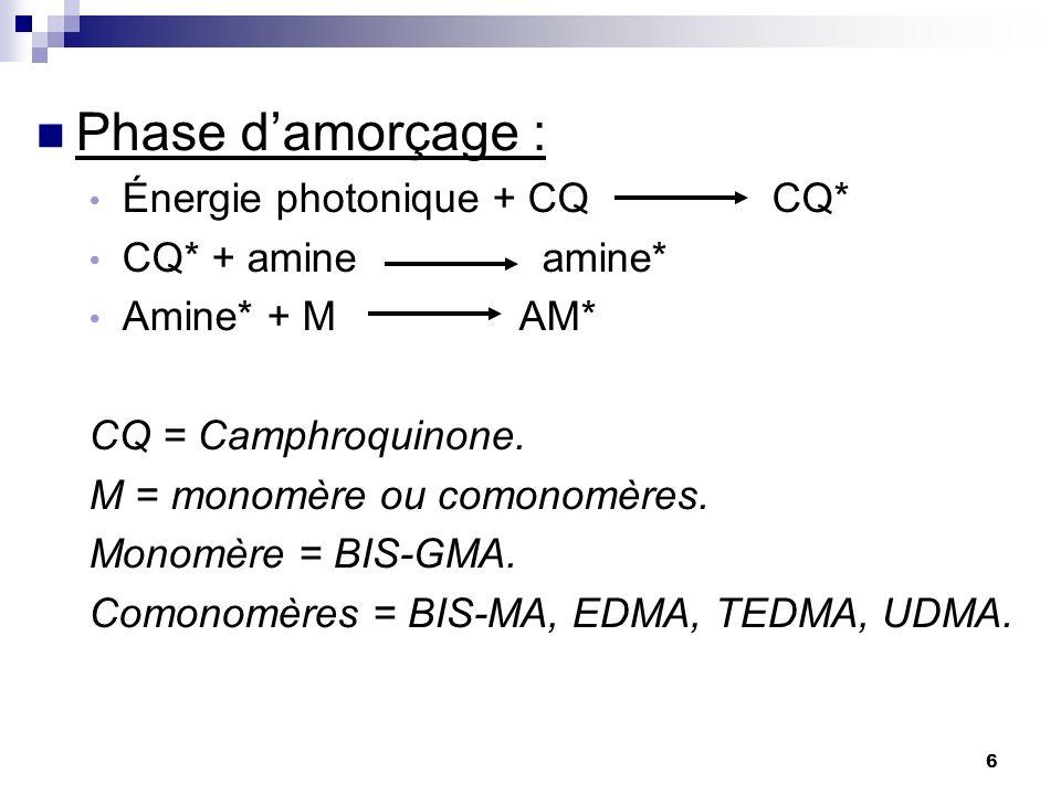 6 Phase damorçage : Énergie photonique + CQ CQ* CQ* + amine amine* Amine* + M AM* CQ = Camphroquinone. M = monomère ou comonomères. Monomère = BIS-GMA