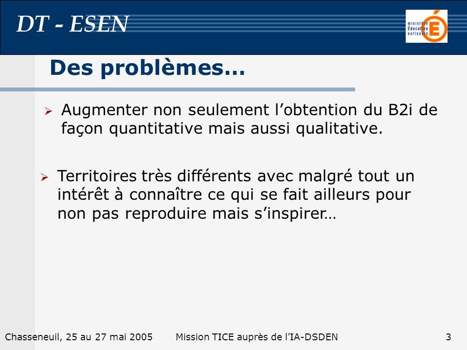 DT - ESEN 2Chasseneuil, 25 au 27 mai 2005Mission TICE auprès de lIA-DSDEN Des stratégies...
