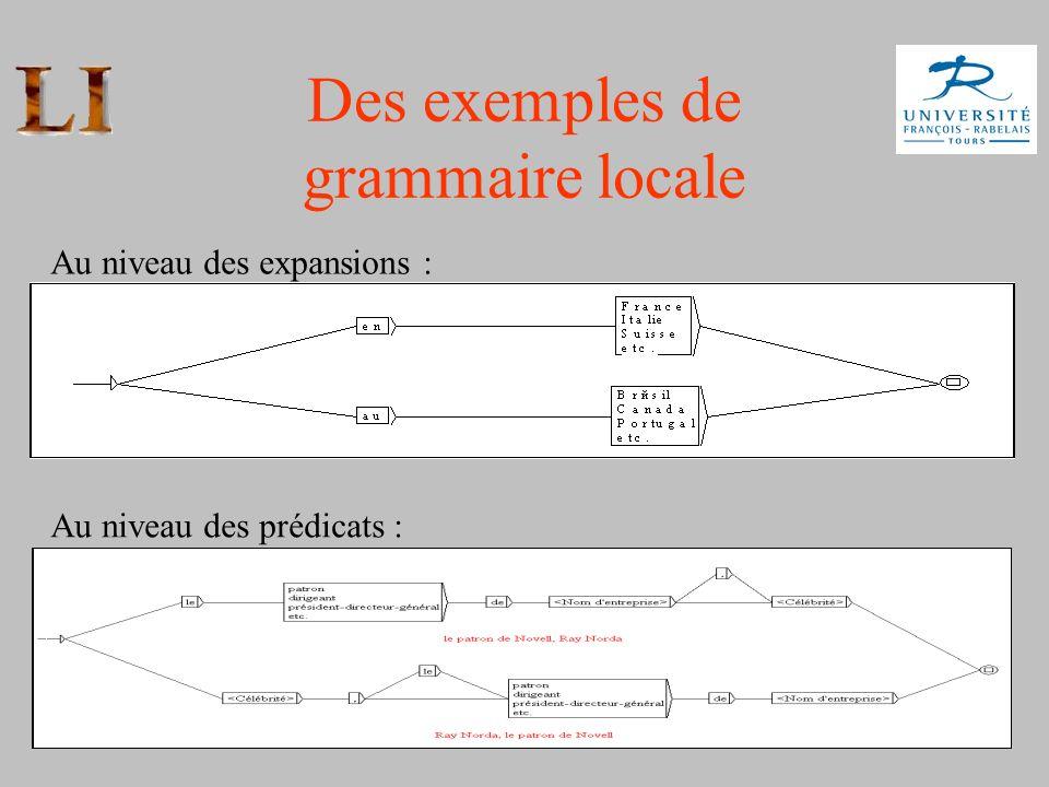 11 Des exemples de grammaire locale Au niveau des expansions : Au niveau des prédicats :