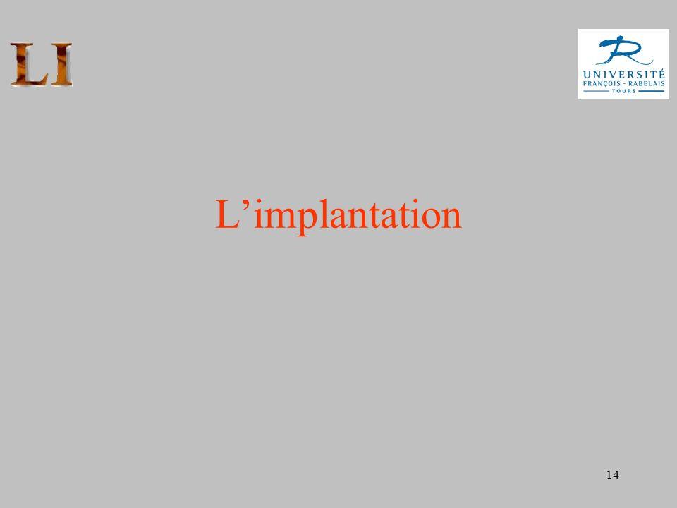 14 Limplantation