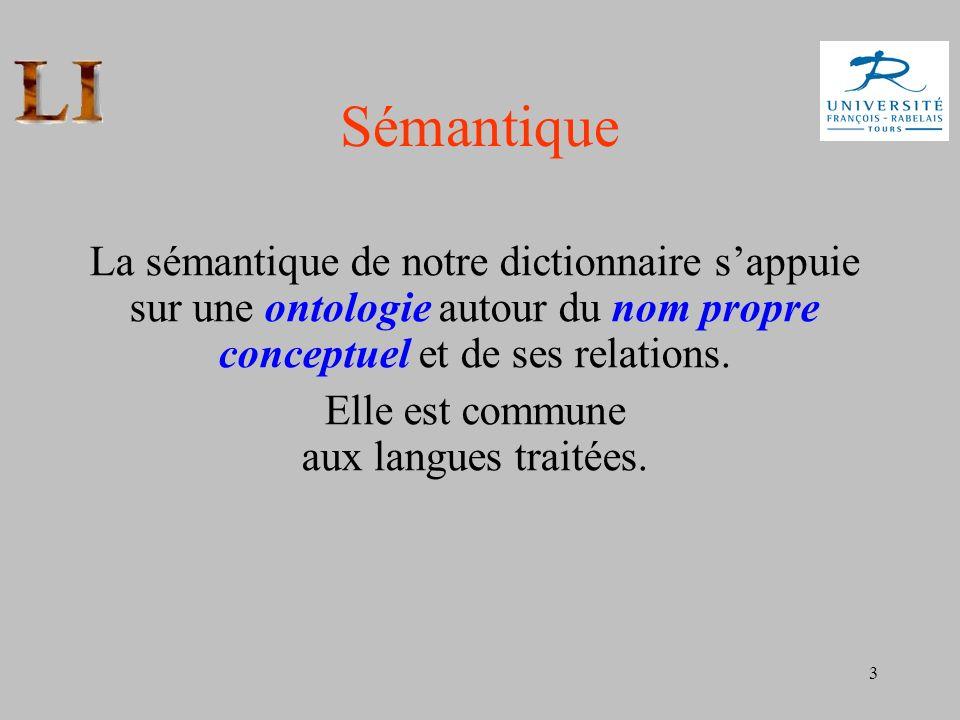 3 Sémantique La sémantique de notre dictionnaire sappuie sur une ontologie autour du nom propre conceptuel et de ses relations. Elle est commune aux l