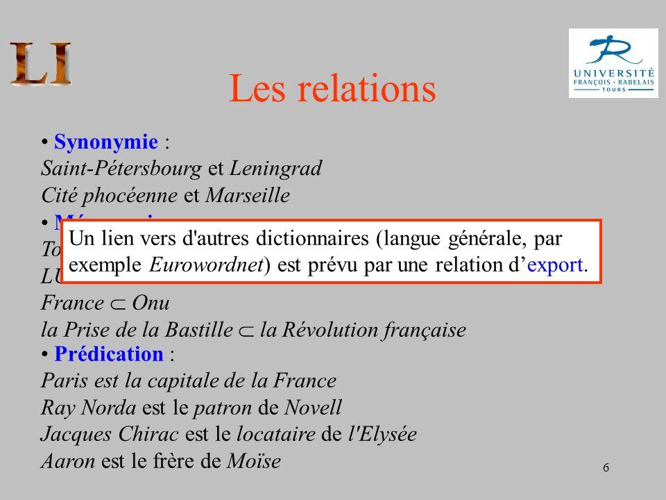 6 Les relations Synonymie : Saint-Pétersbourg et Leningrad Cité phocéenne et Marseille Méronymie : Tours Région Centre France LU Danone France Onu la