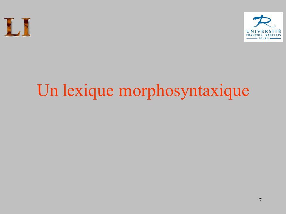 7 Un lexique morphosyntaxique