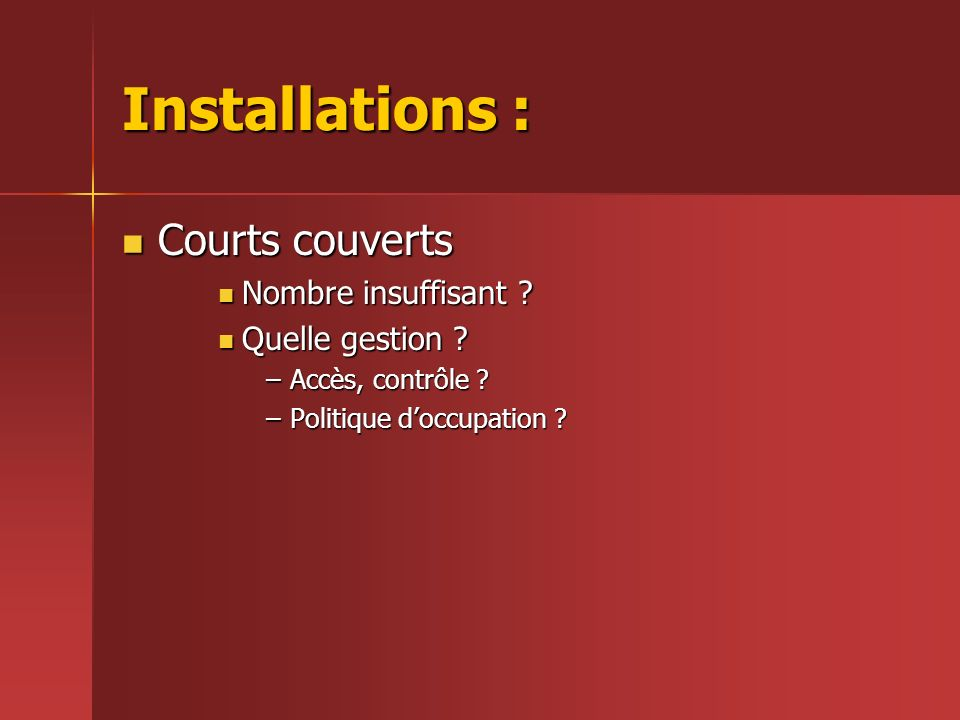 Installations : Courts couverts Courts couverts Nombre insuffisant .