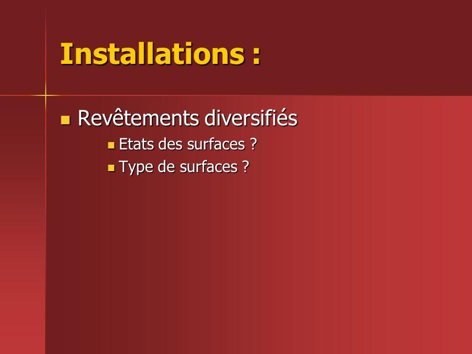 Installations : Revêtements diversifiés Revêtements diversifiés Etats des surfaces ? Etats des surfaces ? Type de surfaces ? Type de surfaces ?