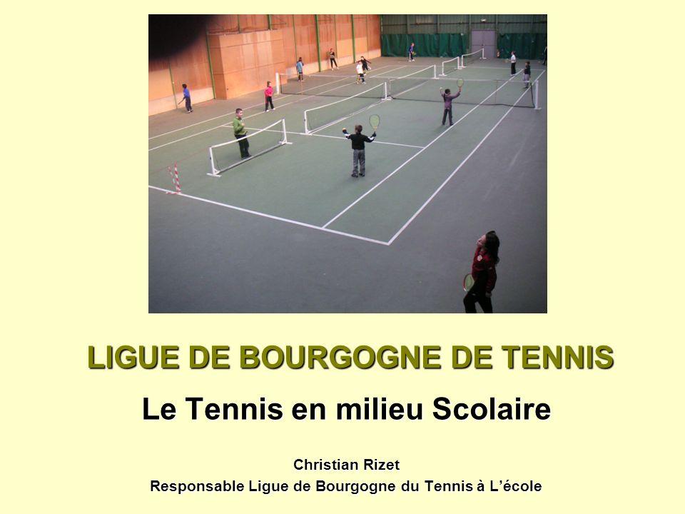 LIGUE DE BOURGOGNE DE TENNIS Le Tennis en milieu Scolaire Christian Rizet Responsable Ligue de Bourgogne du Tennis à Lécole