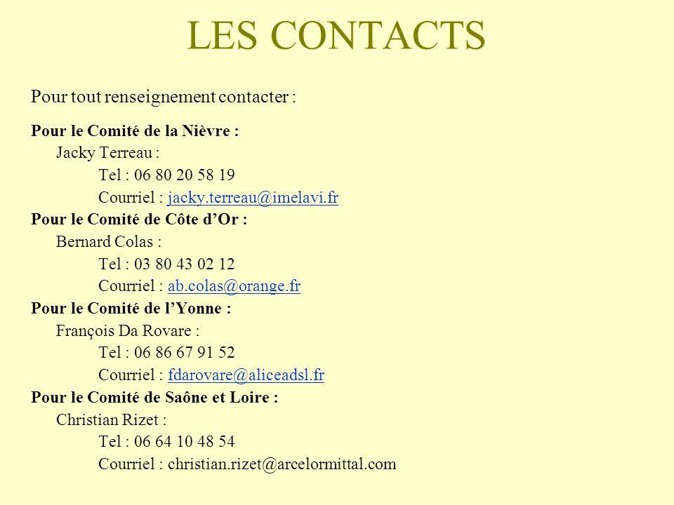 LES CONTACTS Pour tout renseignement contacter : Pour le Comité de la Nièvre : Jacky Terreau : Tel : 06 80 20 58 19 Courriel : jacky.terreau@imelavi.f