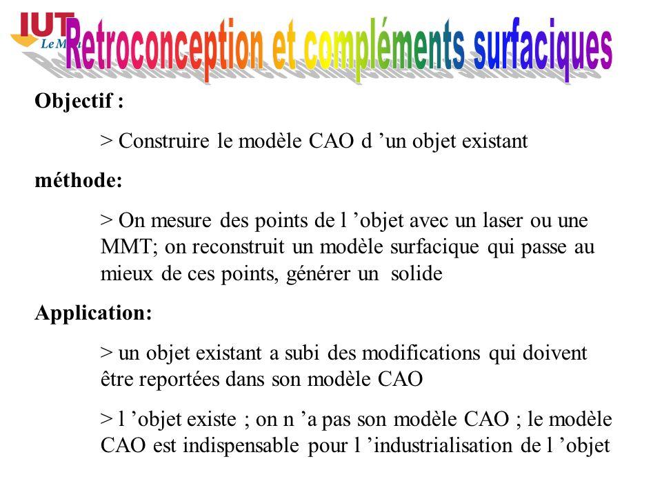 Objectif : > Construire le modèle CAO d un objet existant méthode: > On mesure des points de l objet avec un laser ou une MMT; on reconstruit un modèl