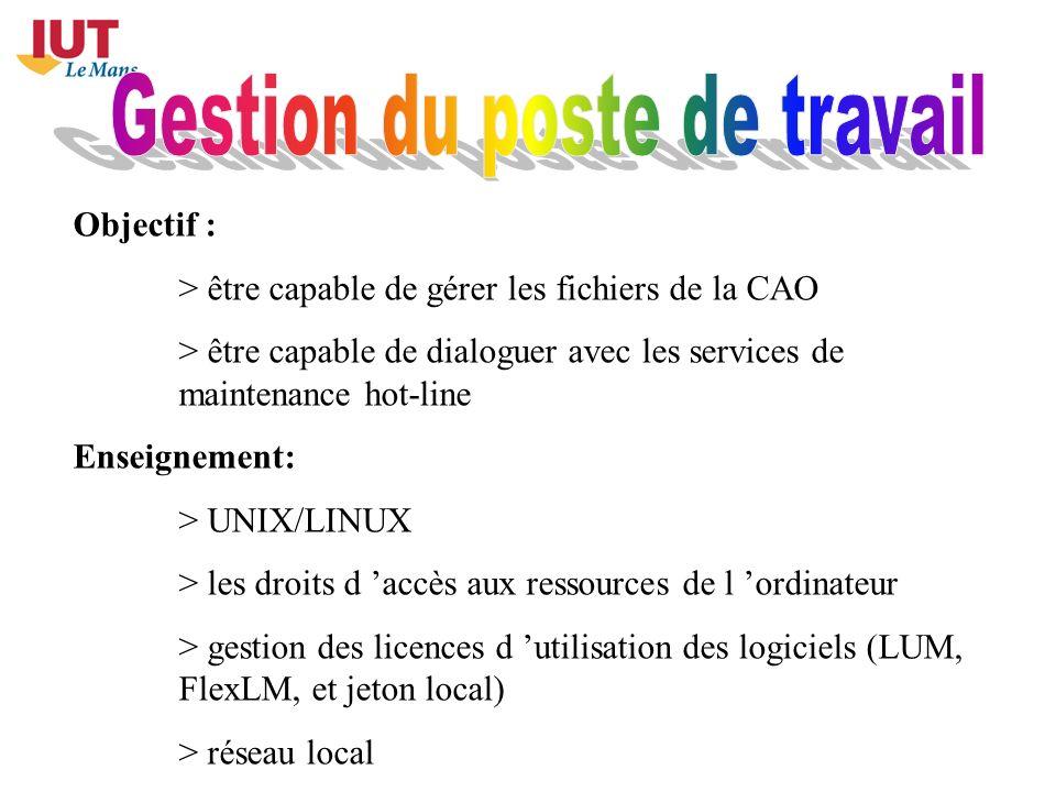 Objectif : > être capable de gérer les fichiers de la CAO > être capable de dialoguer avec les services de maintenance hot-line Enseignement: > UNIX/L