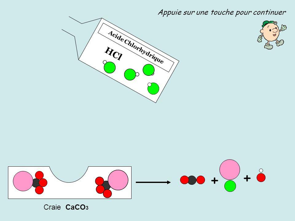 Acide Chlorhydrique HCl Craie CaCO 3 + Appuie sur une touche pour continuer