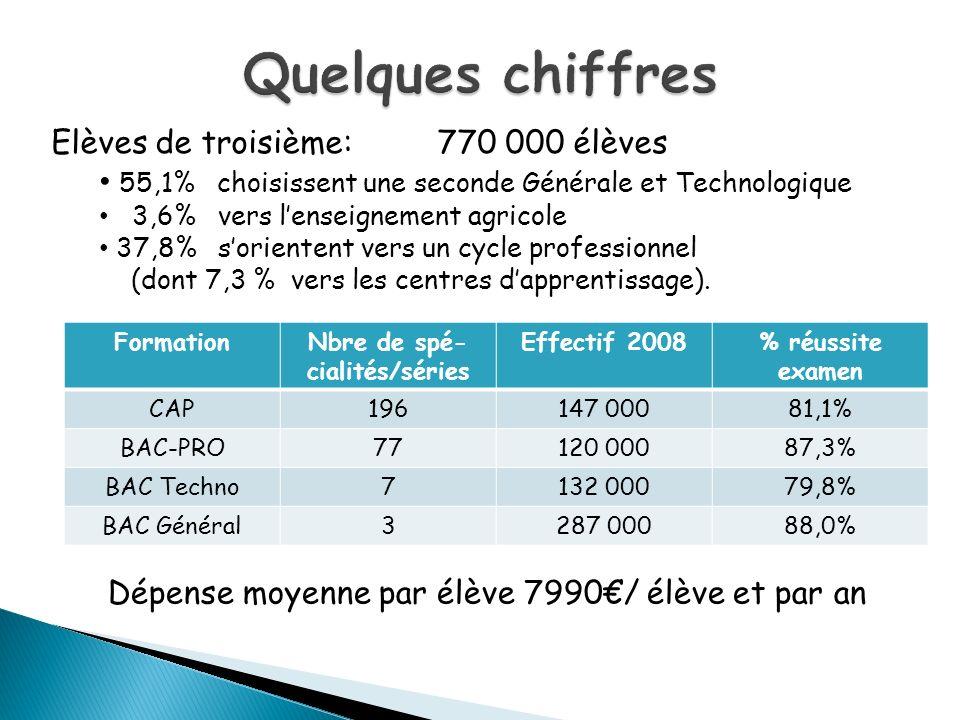 FormationNbre de spé- cialités/séries Effectif 2008% réussite examen CAP196147 00081,1% BAC-PRO77120 00087,3% BAC Techno7132 00079,8% BAC Général3287