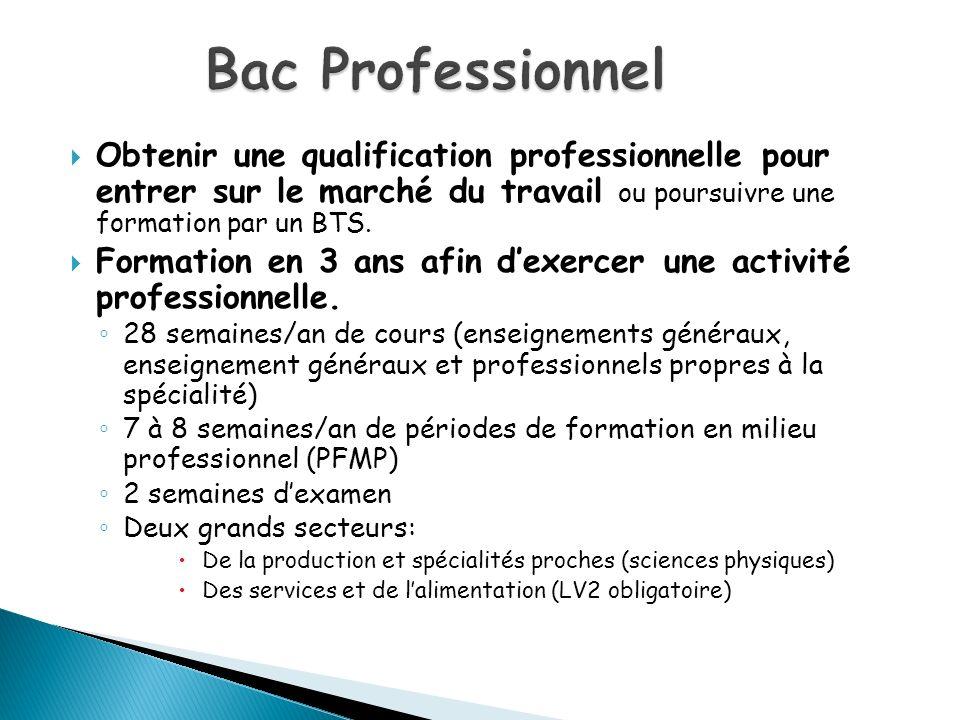 Obtenir une qualification professionnelle pour entrer sur le marché du travail ou poursuivre une formation par un BTS. Formation en 3 ans afin dexerce