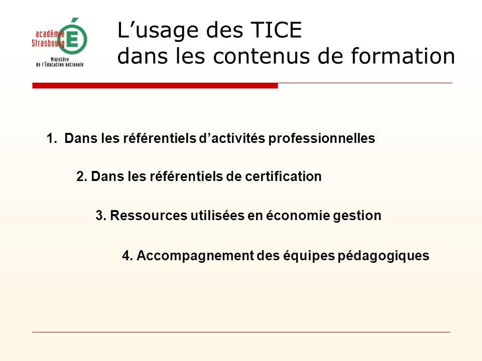 Lusage des TICE dans les contenus de formation 1.Dans les référentiels dactivités professionnelles 2. Dans les référentiels de certification 3. Ressou
