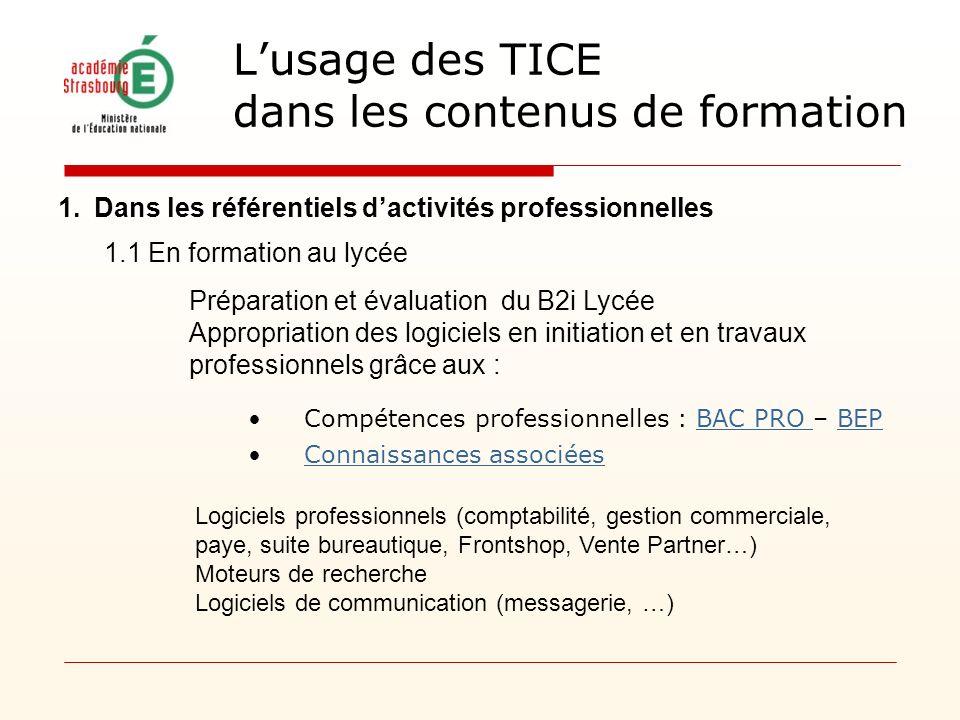 Lusage des TICE dans les contenus de formation 1.Dans les référentiels dactivités professionnelles Logiciels professionnels (comptabilité, gestion com