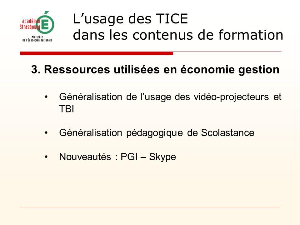 3. Ressources utilisées en économie gestion Généralisation de lusage des vidéo-projecteurs et TBI Généralisation pédagogique de Scolastance Nouveautés