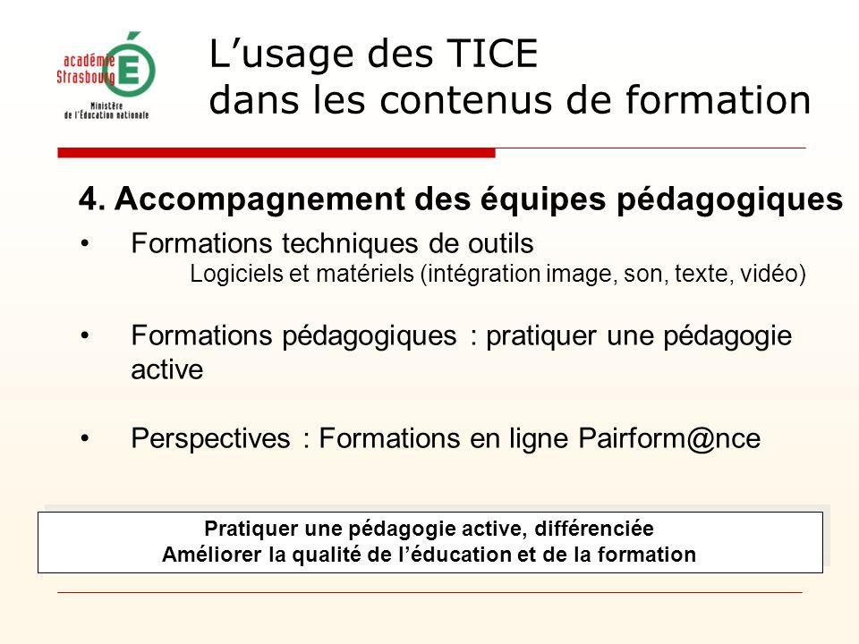Formations techniques de outils Logiciels et matériels (intégration image, son, texte, vidéo) Formations pédagogiques : pratiquer une pédagogie active Perspectives : Formations en ligne Pairform@nce 4.