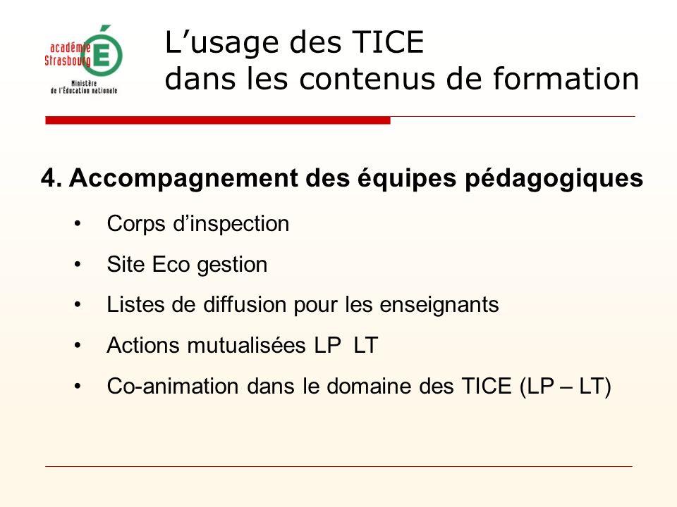 4. Accompagnement des équipes pédagogiques Corps dinspection Site Eco gestion Listes de diffusion pour les enseignants Actions mutualisées LP LT Co-an