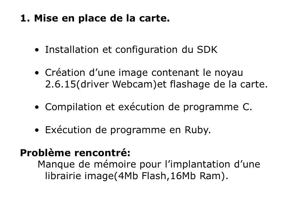 1. Mise en place de la carte. Installation et configuration du SDK Création dune image contenant le noyau 2.6.15(driver Webcam)et flashage de la carte