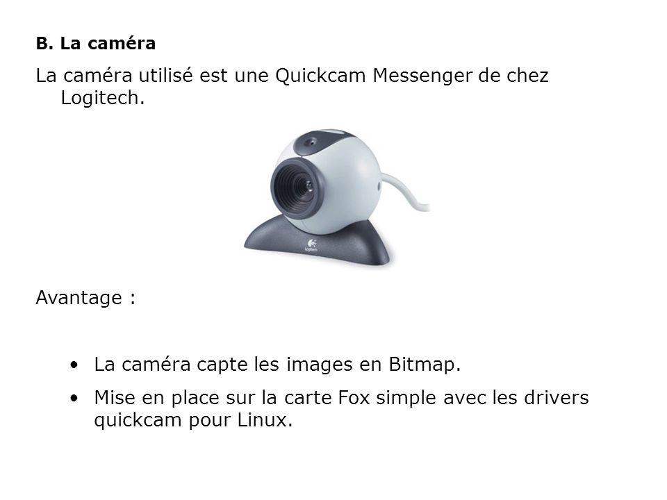 B. La caméra La caméra utilisé est une Quickcam Messenger de chez Logitech. Avantage : La caméra capte les images en Bitmap. Mise en place sur la cart